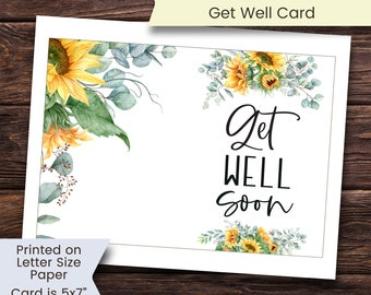 Printable Get Well Card, Sunflower Get Well Card, Get Well Card, Get Well Soon Card, Get Well Soon, Sunflowers, Printable, Digital, Download