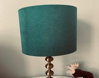 Jade Green Drum Lampshade. 20, 25, 30cm. Textured Fabric. Handmade. Table Lamp, Pendant Shade.