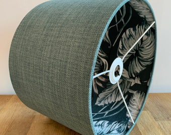 Handmade 30cm Double Sided Drum, Pendant / Table / Floor Lamp Blue Green Fabric Lampshade with Leafy Lining.