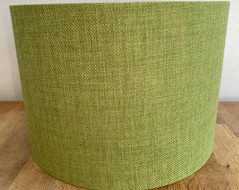 Handmade Green Fabric Drum Lampshade. Table, Floor Lamp, Ceiling Pendant