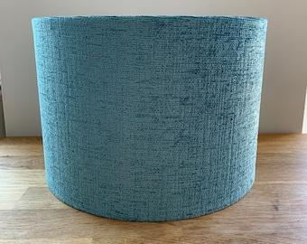Handmade Ocean Blue, Drum Lampshade. Textured Fabric. Pendant / Table / Floor