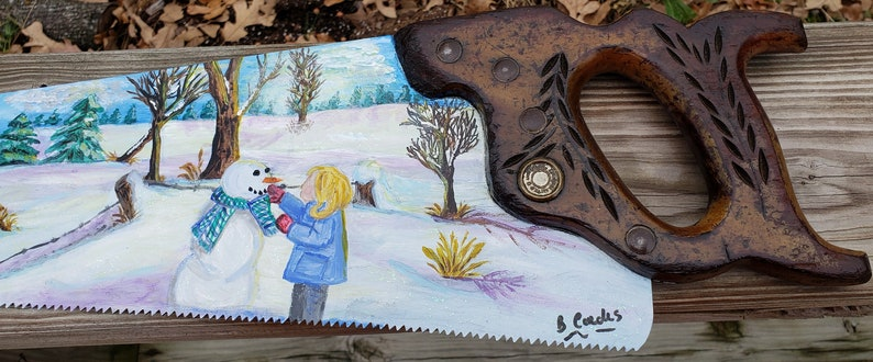 Building a Snowman Painting on Antique Hand Saw image 0