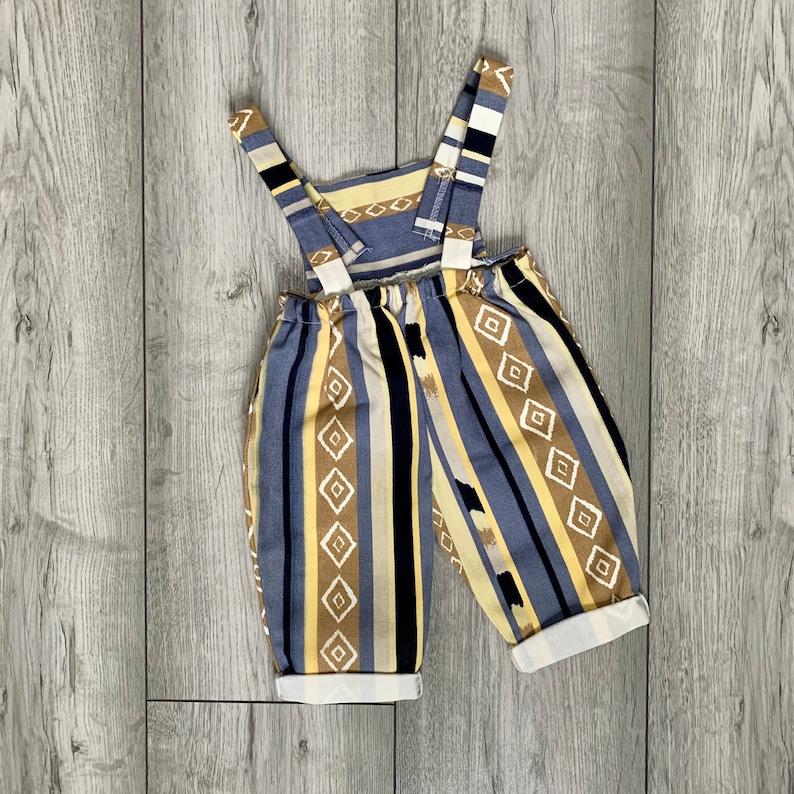 Cute Baby Overalls Retro Boho Vintage Quirky Denim Striped Baby Romper Unisex Design SummerWinter