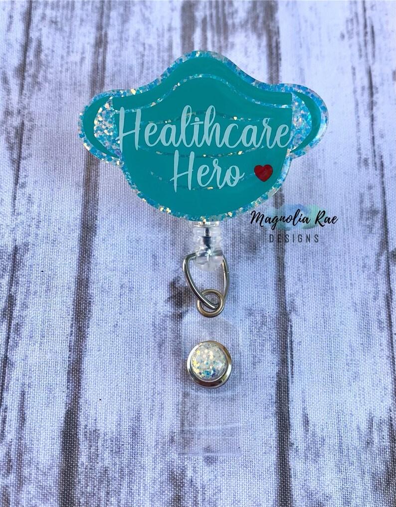 Healthcare Hero Badge Reel Face Mask Badge Reel Nurse Badge Holder Essential Medical Tech Badge Reel