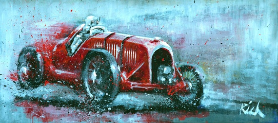 Bentley Blower Print, The Red Birkin Blower painted in Acrylic