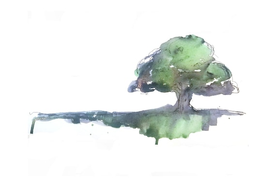 Wisdom - Sketches in ink and watercolour of the wise old oak tree, 3 Print set of tree, leaves and acorn.