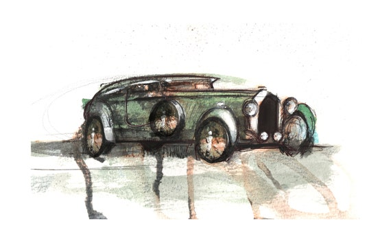 The Bentley Blue Train Sketch