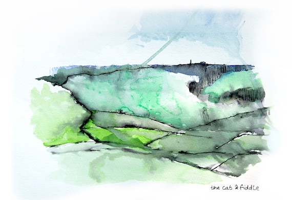 Its only up there, the windy road to the cat and fiddle . Water colour and ink print.