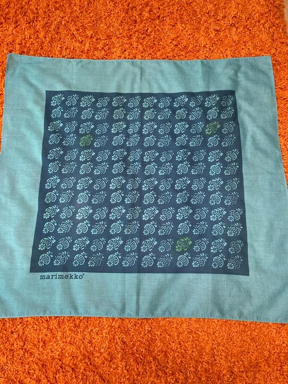 """Vintage Blue on Blue Marimekko large scarf 34"""" x 3"""