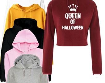Cute But Devilish Inside Crop Top Hoodie  Funny Horror Halloween Costume Crop Top Hood Hooded Women  Ladies Gift Valentine Vampire  Unisex