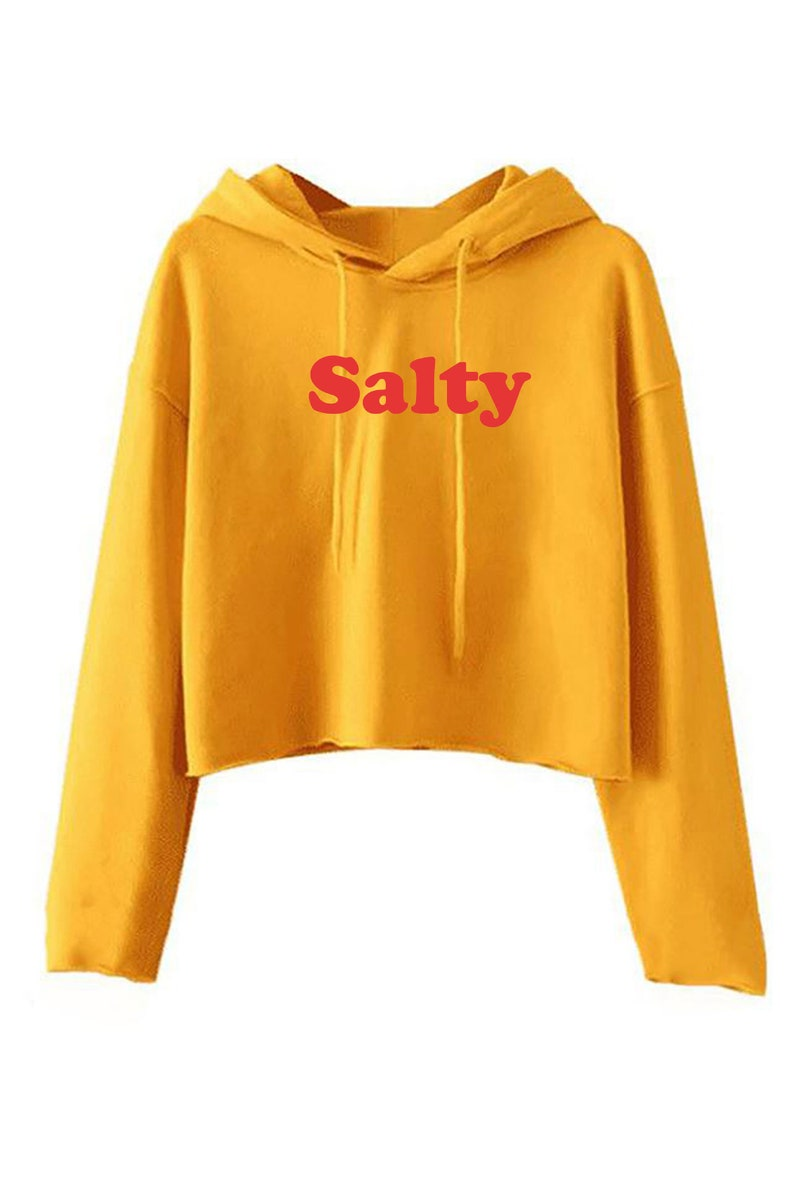 Salty Womens Ladies Funny Crop Tops Hoodie Hoody Croptop Hood Long SLeeve Christmas Gift Top Slogan Swimming Sea Holiday trip Unisex