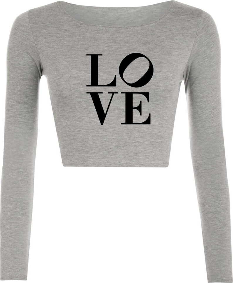 LOVE Crop Tops Crop-Tops Long Sleeve Fashion Unisex Tumblr Hipster Cool Funny Slogan Xmas Gift Valentines Gift for Her Ladies Girls