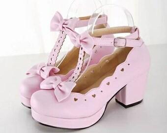 1//6 Barbie Doll Light Pink High Heel Platform Criss Cross Strappy Shoes Heels