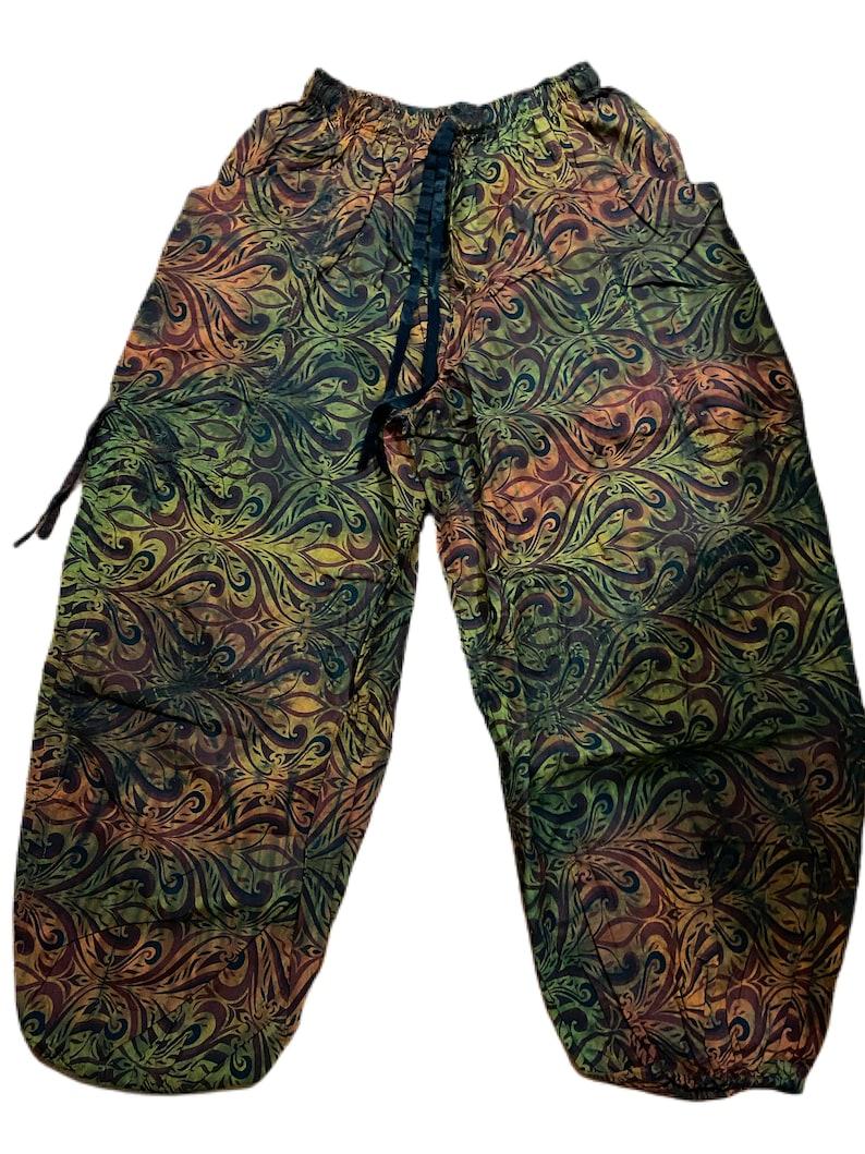 Harem Pants GreenOrange Paisley with 2 Pockets