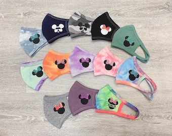 Personalized Kids & Adult Disney 3D Face Mask// Washable Face Mask// Reusable Face Mask// Tie Dye fabric // Made in USA