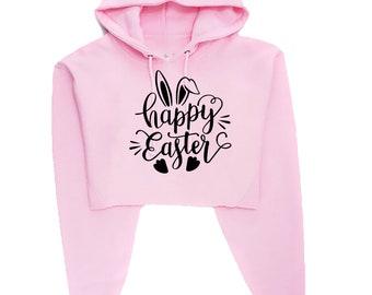 You want a piece of me Funny Bunny Easter Crop Tops Hoodie Hoody Hood Crop-top Croptop Rabbit Bunny Hare Joke Gift Top Unisex Ladies Womens