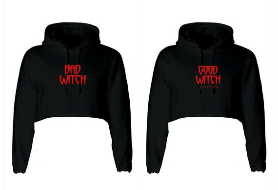 Funny Ladies Couple Matching Crop Tops Crop-Tops Hoodie Hoody Hood BFF Bad Witch Good Witch Halloween Friend Top Gift for Friends Womens