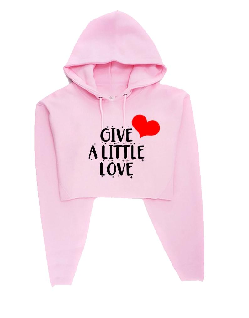 Give a Little Love Merry Christmas Crop Tops Hoodie Croptop Hood Spread Love Xmas Present Unisex Birthday Present Womens Ladies Unisex