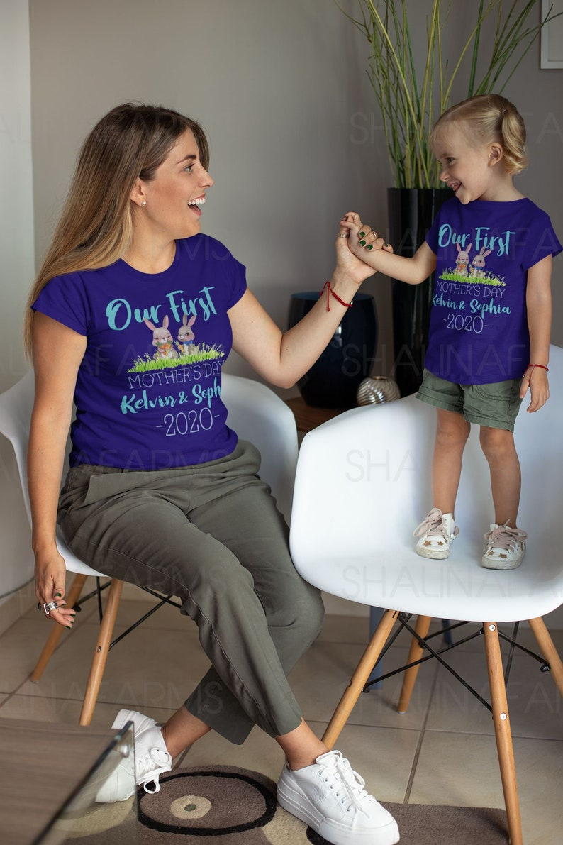 Our First Mother/'s Day Mom and Baby Set Shirt Matching Mother And Me Gift Shirt VC1746 Our First Mother/'s Day Animal Matching Shirt