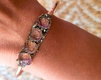 Sterling Silver Gemstone Bracelet Ametrine Stone Crystals For Spiritual and Intellectual Energies.
