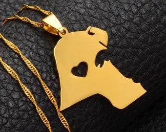 Kuwait Map Shape Pendant Trinket Jewelry Box