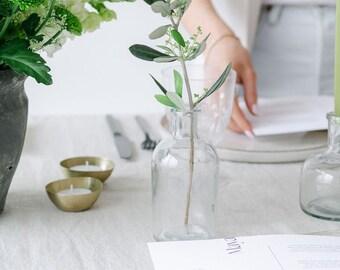 Set of 4 Botanical Bottle Glass Bud Vases Vintage Flower Vase