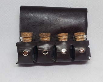 Leather belt hanger 5ml cork top glass bottle pack, steampunk accessory, costume accessory, cosplay, larp bottles, dnd, larp, rpg apothacery