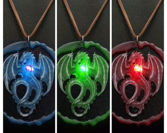"LED Resin Dragon on 3"" Wood Disc"