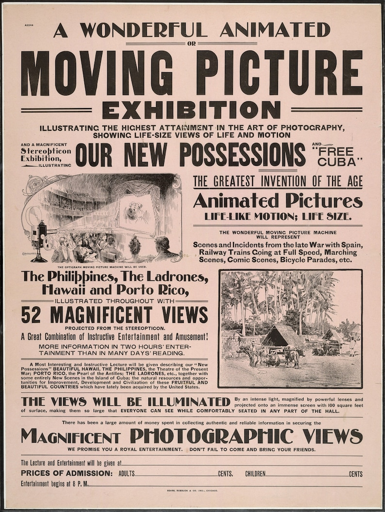 A wonderful animated or moving picture Abstract medium Vintage 24x32 Art Print Poster from 1920s to present reproduction.