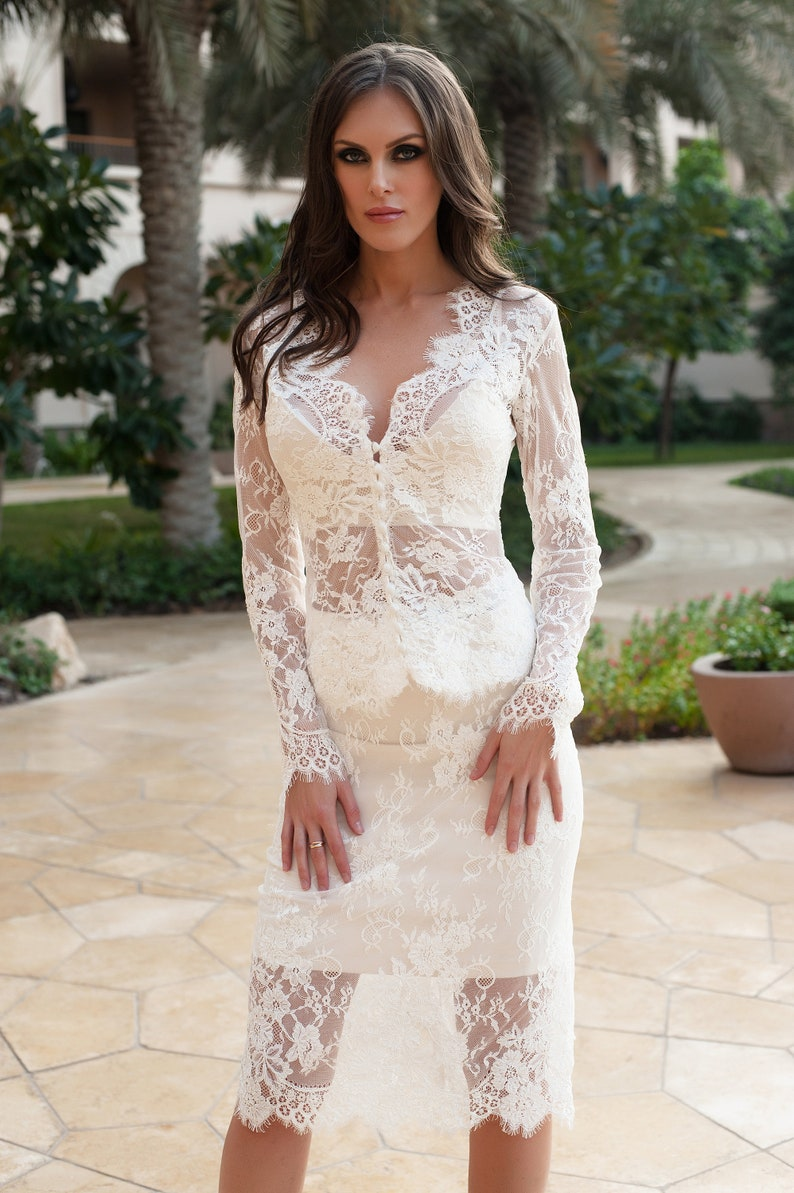 Lace Set Evening Dress Wedding Short Dress Lace blouse Top and Skirt Short tight lace skirt