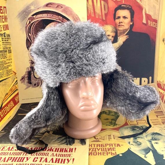 ushanka rabbit hat,real rabbit fur,winter hat size 59-60cm New rabbit hat,Russian rabbit hat