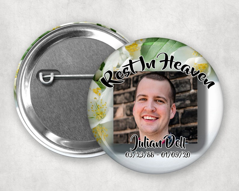 Badges Memorial Keepsakes Memorial Buttons Funeral Buttons Funeral Keepsakes 2.25 Pin Back Buttons Gifts Accessories