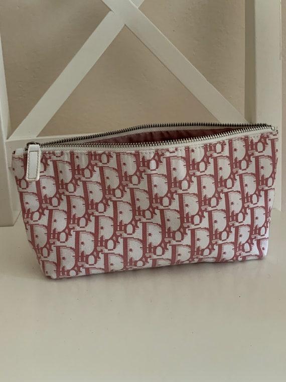 Dior pink monogram cosmetic bag
