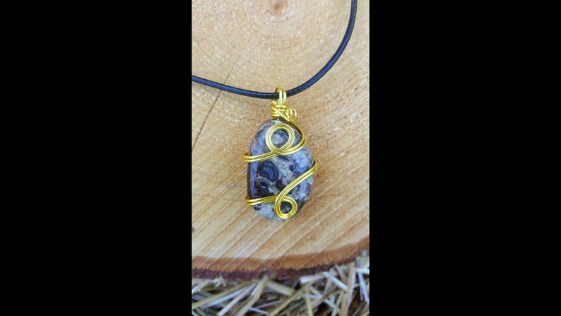 Wire wrapped Creek Jasper crystal pendant necklace