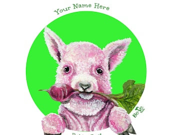 Personalized Children's Lamb Plate Meet Babba Beet, BPA Free Tableware Children, Kids Educational Dinnerware, Vegan Dishes, Gift for Kids