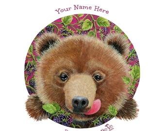 "Personalized 10"" Round Kids Plate, Meet Berry Bear Vegan Kids Dinnerware, Custom Name Plates for Kids, Collectible Animal BPA Free Plates"