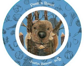 Personalized Beaver Bowl For Children, Beaver Peek a Bowl for Kids, BPA Free Kids Dinnerware, Cereal Bowls for Boys, Girls Food Sets