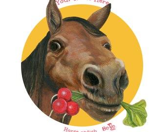 Personalized Horse Plate For Children, Meet Horse Radish, Educational Dinnerware For Kids, Equestrian Dinner Plate, Fun Tableware for Kids