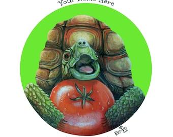 Personalized Turtle Plate For Children, Custom Name Meet Tomato Tortoise Dinner Plate for Kids, Animal Friends, BPA Free Dinner Set
