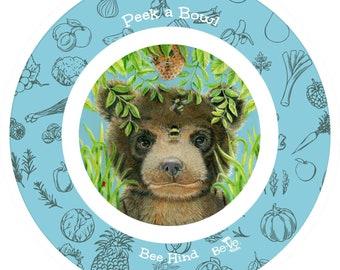 Peek a Bee Cute Bear Bowl for Kids, Custom Baby Bear Bowls, Children's Melamine Free Bowls, Dinnerware Sets for Children, Birthday Gift