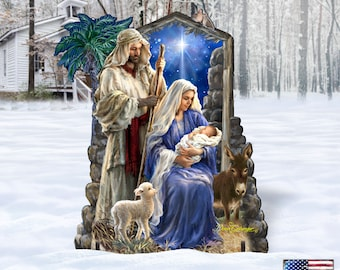 Outdoor Nativity Scene - Holly Night Nativity Family Home and Outdoor Freestanding Decor by Dona Gelsinger 8461041F-1618