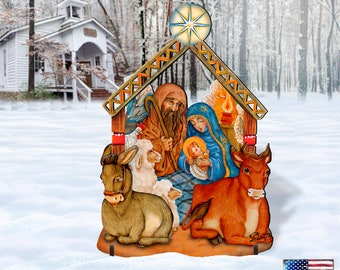 NATIVITY Wooden Free-Standing Christmas OUTDOOR Decoration 8114030F