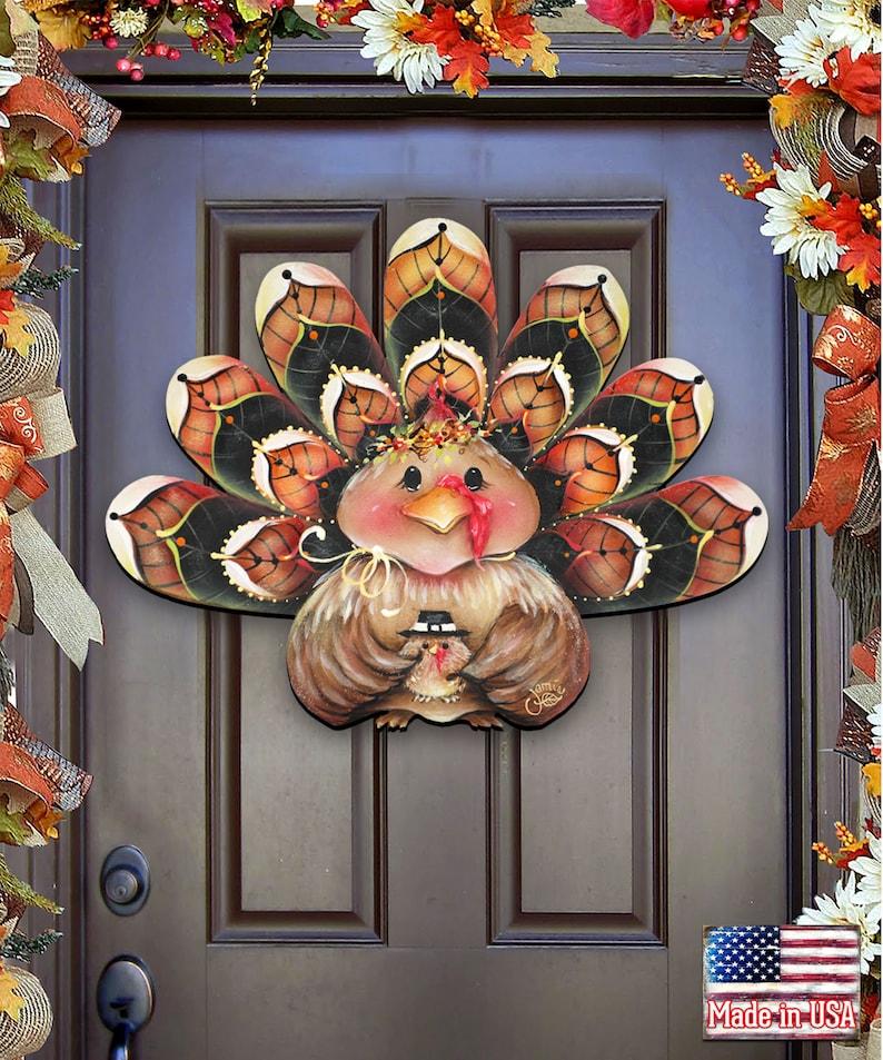 Thanksgiving Decor Turkey Wreath Wooden Door Hanger by Jamie image 0