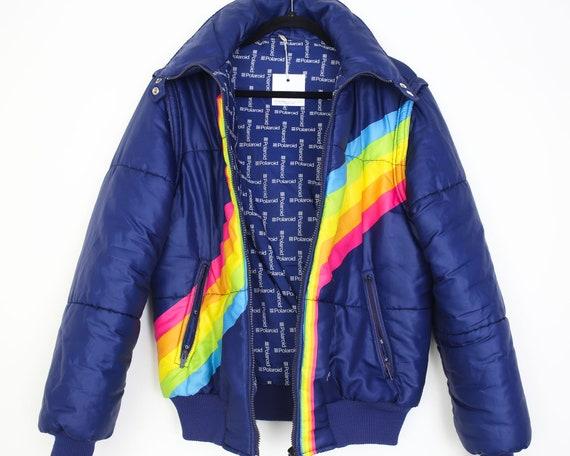 rare vintage 80s POLAROID Rainbow Jacket 90s