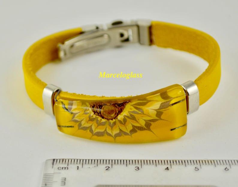 glass jewelry bracelet glass bracelet mustard color cuff glass and leather