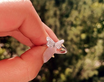 North Arrow Shop Open Cut Lovely Butterfly CZ Ring 925 Sterling Silver with Free Box