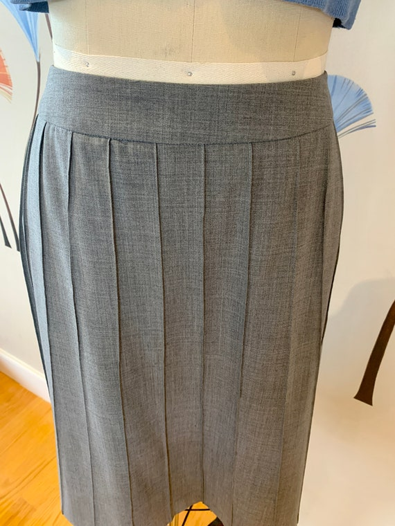 Wool Gray Skirt with Mock Pleats , US Size 10