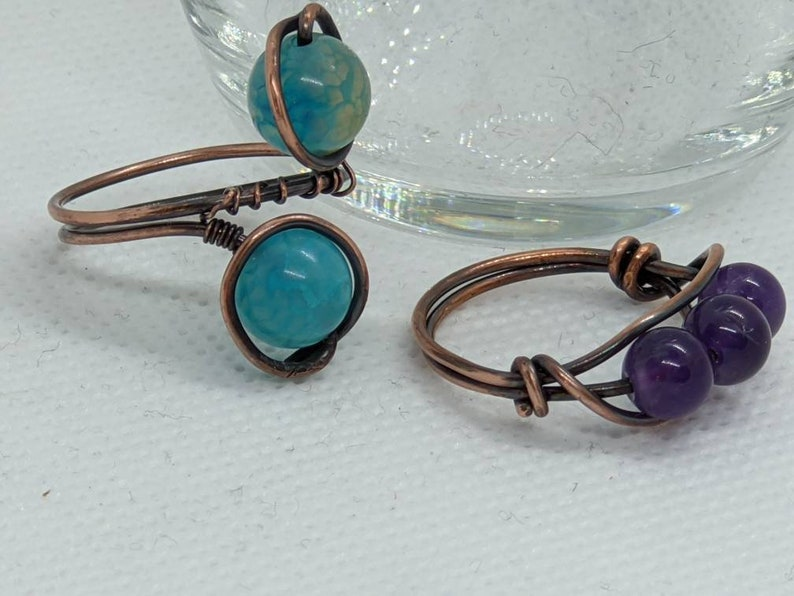 2 Stackable rings amethyst and blue agate.