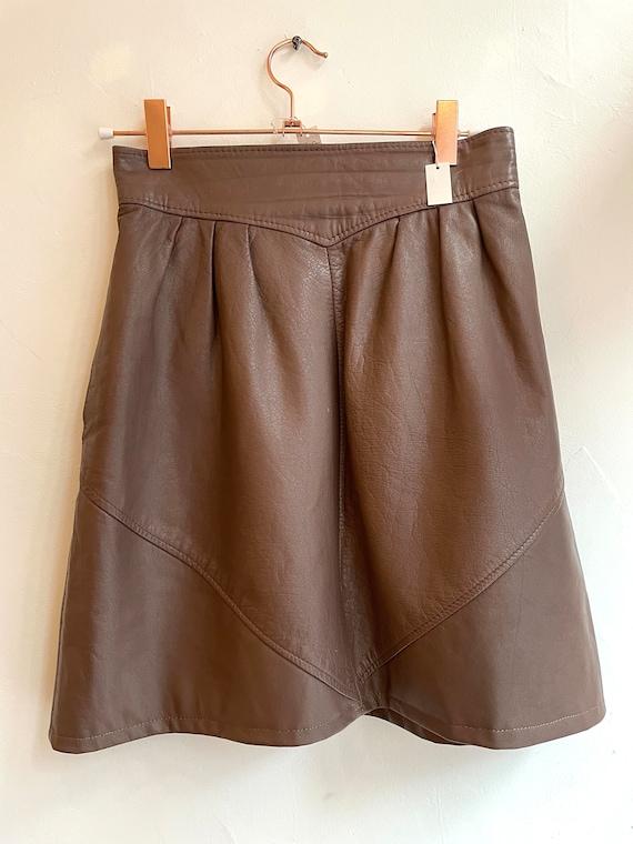 Vintage Brown Leather Skirt