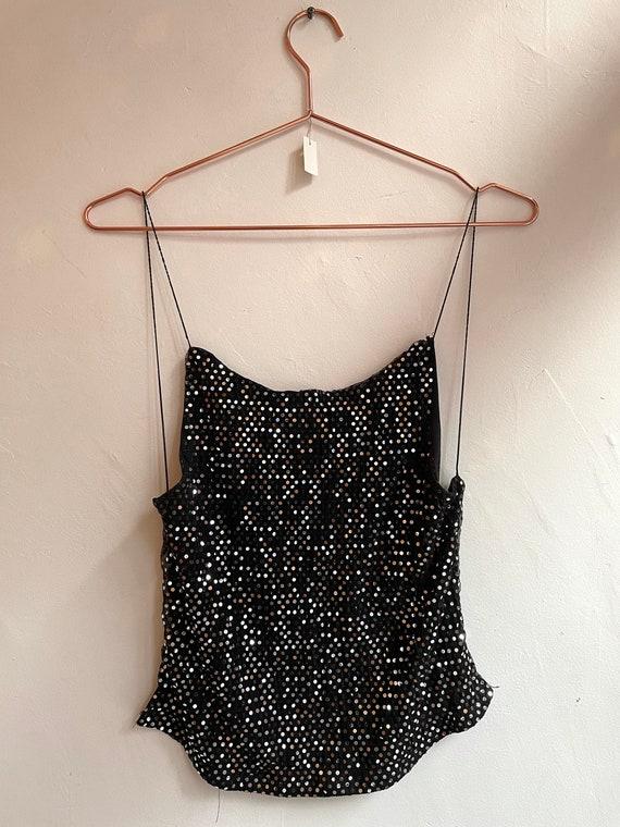 Vintage Black Sequin Backless Halter